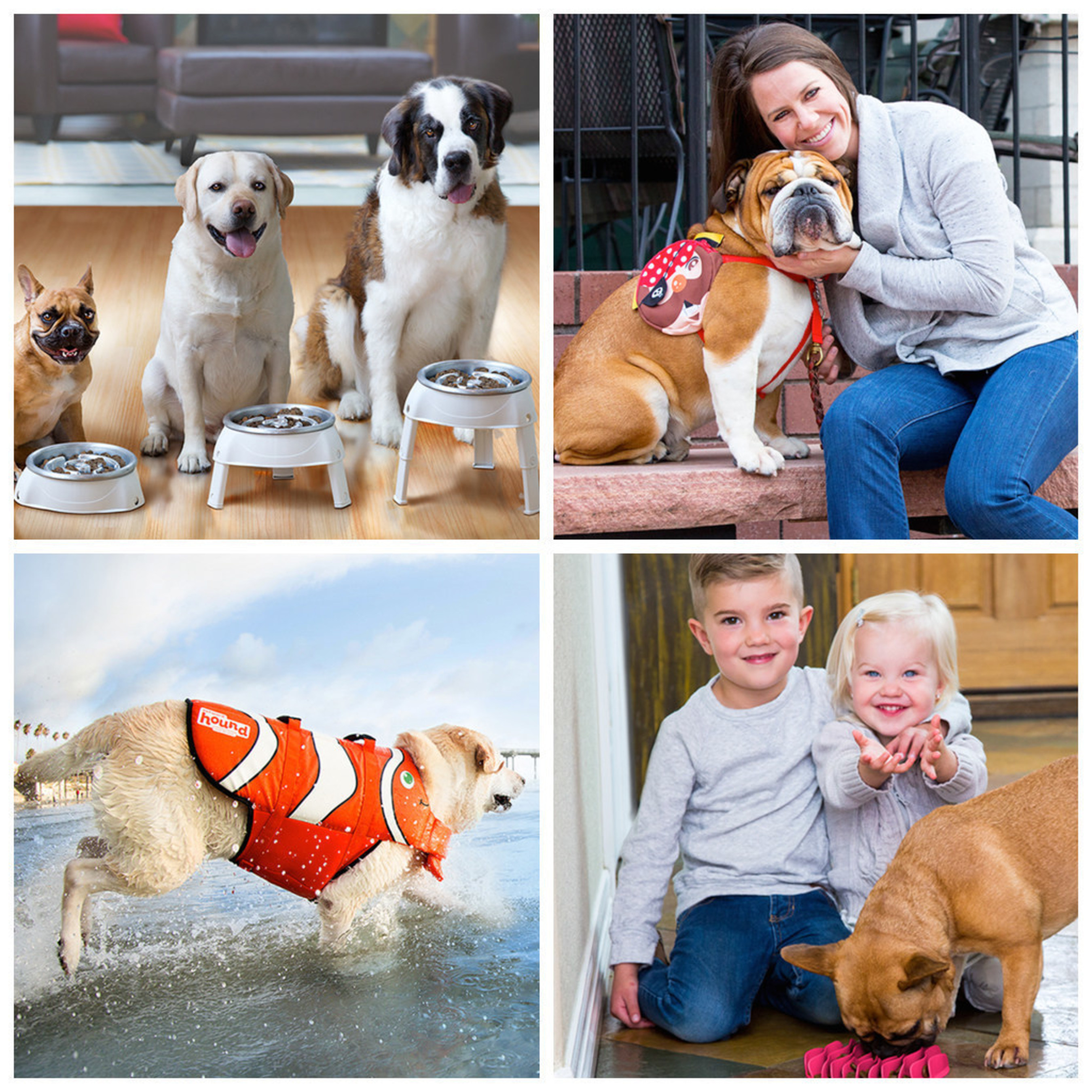 From top left: The Outward Hound 3in1 UP Feeder(TM), The Outward Hound Pal Pak(TM), The Outward Hound Fun Fish(TM) Life Jacket, The Outward Hound Fun Feeder(TM) Mat.