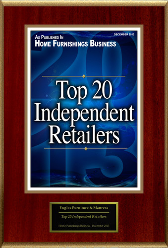 """Engles Furniture & Mattress Selected For """"Top 20 Independent Retailers"""". (PRNewsFoto/Engles Furniture &  ..."""