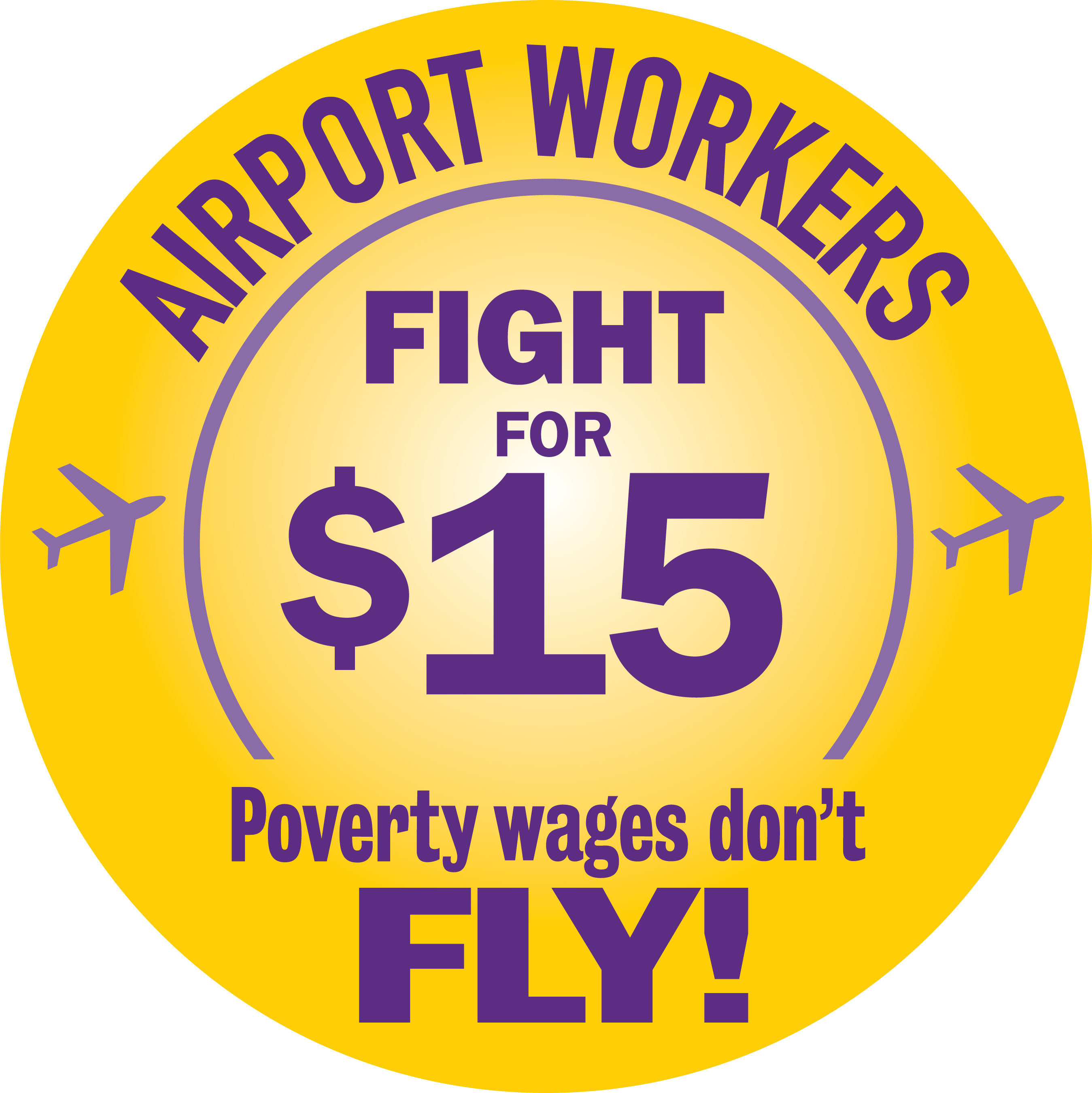 Working people at airports around the United States are standing up with other underpaid workers in the Fight for 15 movement to do whatever it takes to win at least $15 and union rights for every airport worker so they can provide for their families and better care for the hundreds of millions of passengers who rely on them to travel safely. Workers are concerned that low wages, high turnover, inadequate training and safety standards at our nation's airports not only put workers in danger but also hurt passengers by impacting security and quality of service.