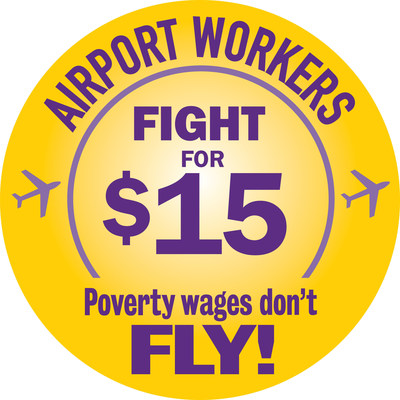 Working people at airports around the United States are standing up with other underpaid workers in the Fight for 15 movement to do whatever it takes to win at least $15 and union rights for every airport worker so they can provide for their families and better care for the hundreds of millions of passengers who rely on them to travel safely. Workers are concerned that low wages, high turnover, inadequate training and safety standards at our nation's airports not only put workers in danger but also hurt passengers by impacting security and quality of service. (PRNewsFoto/SEIU)