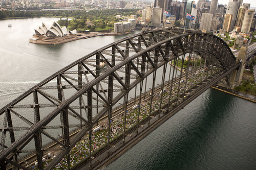 "A view of Sydney's iconic Harbour Bridge yesterday.  7,500 people enjoyed ""Breakfast on the Bridge""  ..."