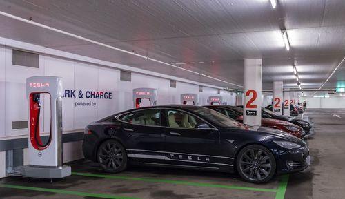 The new Supercharger in St. Moritz is located inside the Serletta carpark. (PRNewsFoto/Tesla Motors Inc)