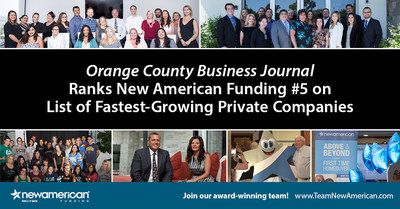 Orange County Business Journal Ranks New American Funding #5 on List of Fastest-Growing, Private Companies.