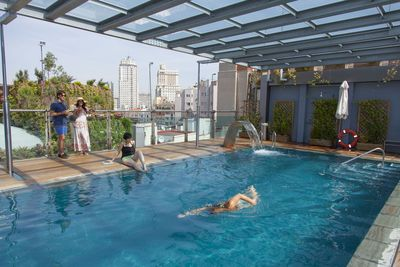 Swimming pool at the rooftop.