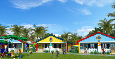 Opening in mid-2017, LEGOLAND Beach Retreat is a whimsically themed vacation resort that combines the fun of surf, sand and sun with the creativity of LEGO bricks on a picturesque site next to Lake Dexter in Winter Haven, Fla., adjacent to LEGOLAND Florida theme park. Distinguished by a colorful LEGO lighthouse, the village-style, lakefront resort will feature 83 single-story duplex units, offering 166 separate accommodations that sleep up to five.