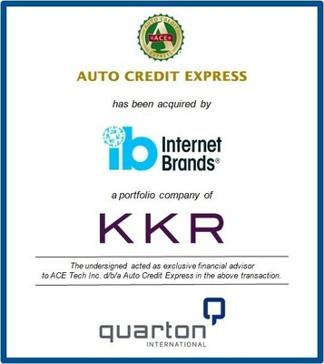 Quarton International Advises ACE Tech Inc. d/b/a Auto Credit Express in its Sale to Internet Brands, a portfolio company of KKR