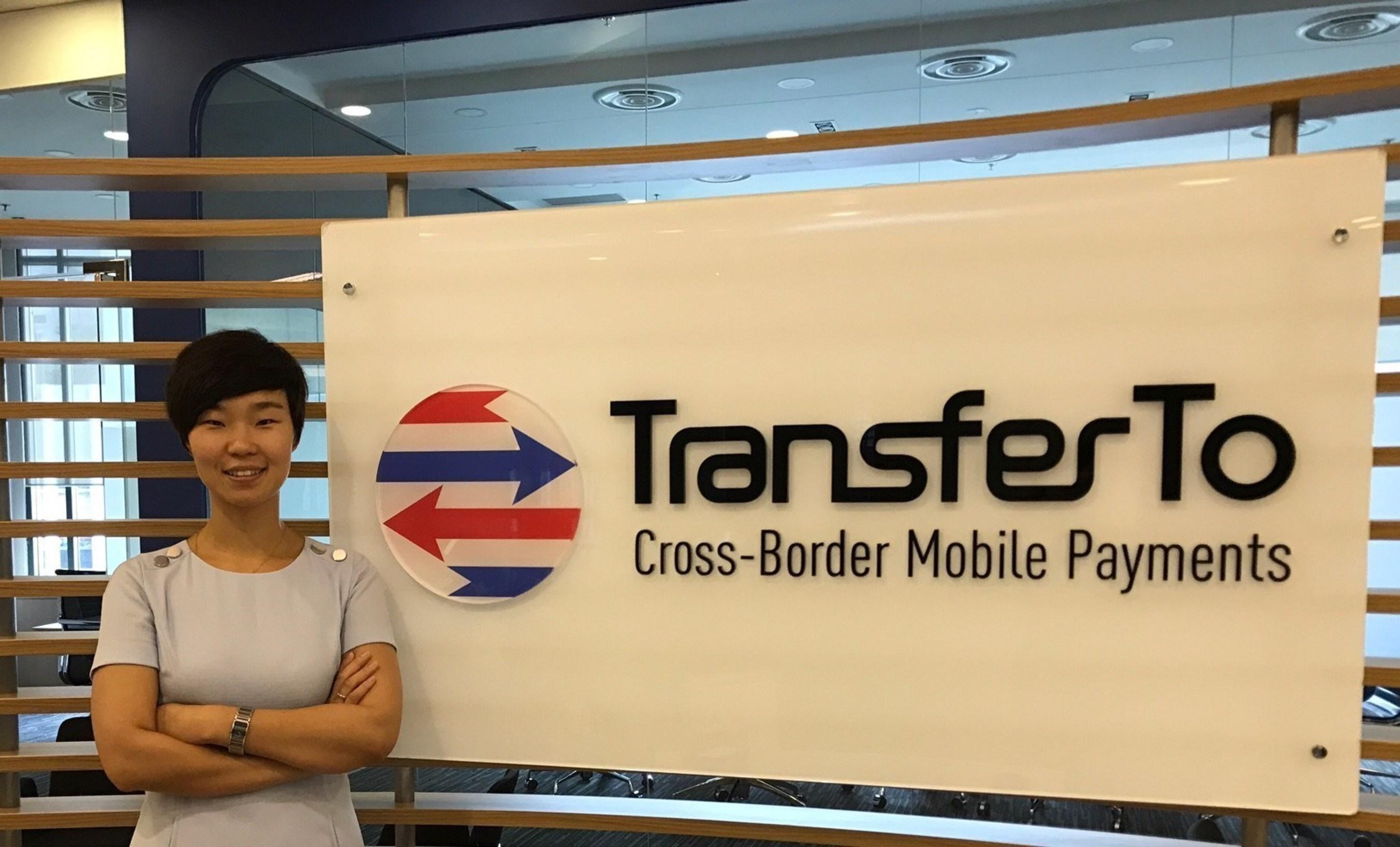 Sandra Yao with TransferTo logo