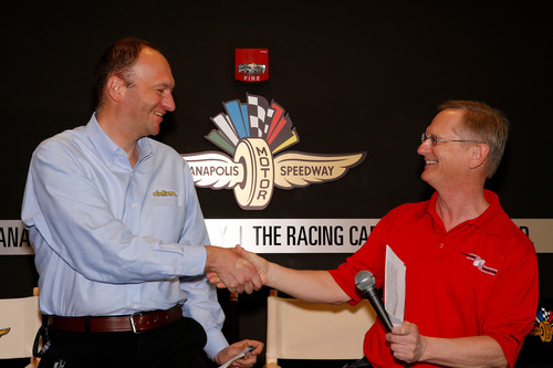 Andrea Toso, Head of R&D and U.S. Racing for Dallara accepts the 2014 BorgWarner Louis Schwitzer Award for the ...
