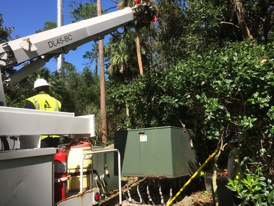 Crews work to restore power in Coastal Georgia following Hurricane Matthew. Georgia Power announced Thursday that it had restored power to more than 99 percent of customers impacted by the storm.