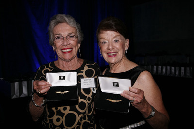US Airways Flight Attendants Carolyn Baker and Bette Nash receive their golden wings with pride for 50 years of service with the airline.  (PRNewsFoto/US Airways)