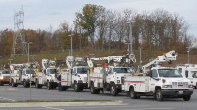 Verizon construction crews from Maryland mount up for restoral effort in hard-hit New Jersey.  (PRNewsFoto/Verizon)
