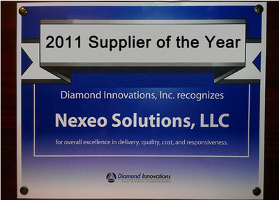 Diamond Innovations names Nexeo Solutions as Supplier of the Year.  (PRNewsFoto/Nexeo Solutions)