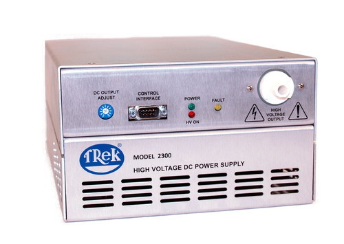 Trek's inaugural line of 300 watt high-voltage DC power supplies utilizes innovative multiplier technology to enable a compact design with high performance features. This Model 2300 Series will interest those involved in commercial, homeland security, industrial, medical, military/defense, radar, research and semiconductor applications.  (PRNewsFoto/TREK, INC.)