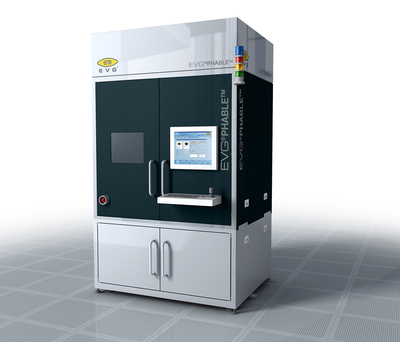 The EVG(r)PHABLE(tm) from EV Group is a non-contact mask-based lithography solution that enables full-field, high-resolution and cost-efficient micro- and nanopatterning of passive and active photonic components, such as patterned structures on light emitting diode (LED) wafers, in high-throughput production environments. (PRNewsFoto/EV Group) (PRNewsFoto/EV GROUP)