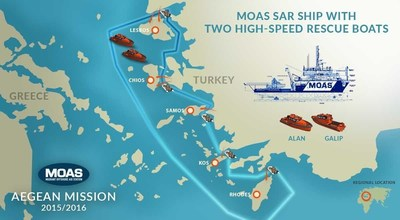 For its Aegean Sea mission MOAS has chartered a vessel called the Topaz Responder which will be based offshore in Greek waters. The vessel will deploy two smaller rescue boats, named Alan and Galip after the two Syrian brothers whose drownings in September sparked worldwide outrage. MOAS saved almost 12,000 lives from the central Mediterranean Sea since August 2014. (PRNewsFoto/Migrant Offshore Aid Station)