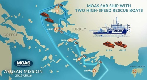 For its Aegean Sea mission MOAS has chartered a vessel called the Topaz Responder which will be based offshore ...