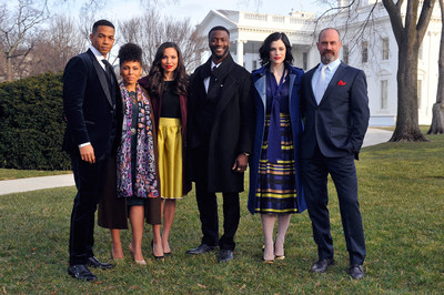 """The cast of """"Underground"""" gather for a photo outside of the White House. Pictured left to right: Alano Miller, Amirah Vann, Jurnee Smollett-Bell, Aldis Hodge, Jessica de Gouw, Christopher Meloni"""