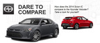 The competition between the 2014 Scion tC vs. the 2014 Hyundai Veloster favors the Scion coupe because of its increased horsepower and incredible amount of aftermarket accessories.  (PRNewsFoto/Scion of Naperville)