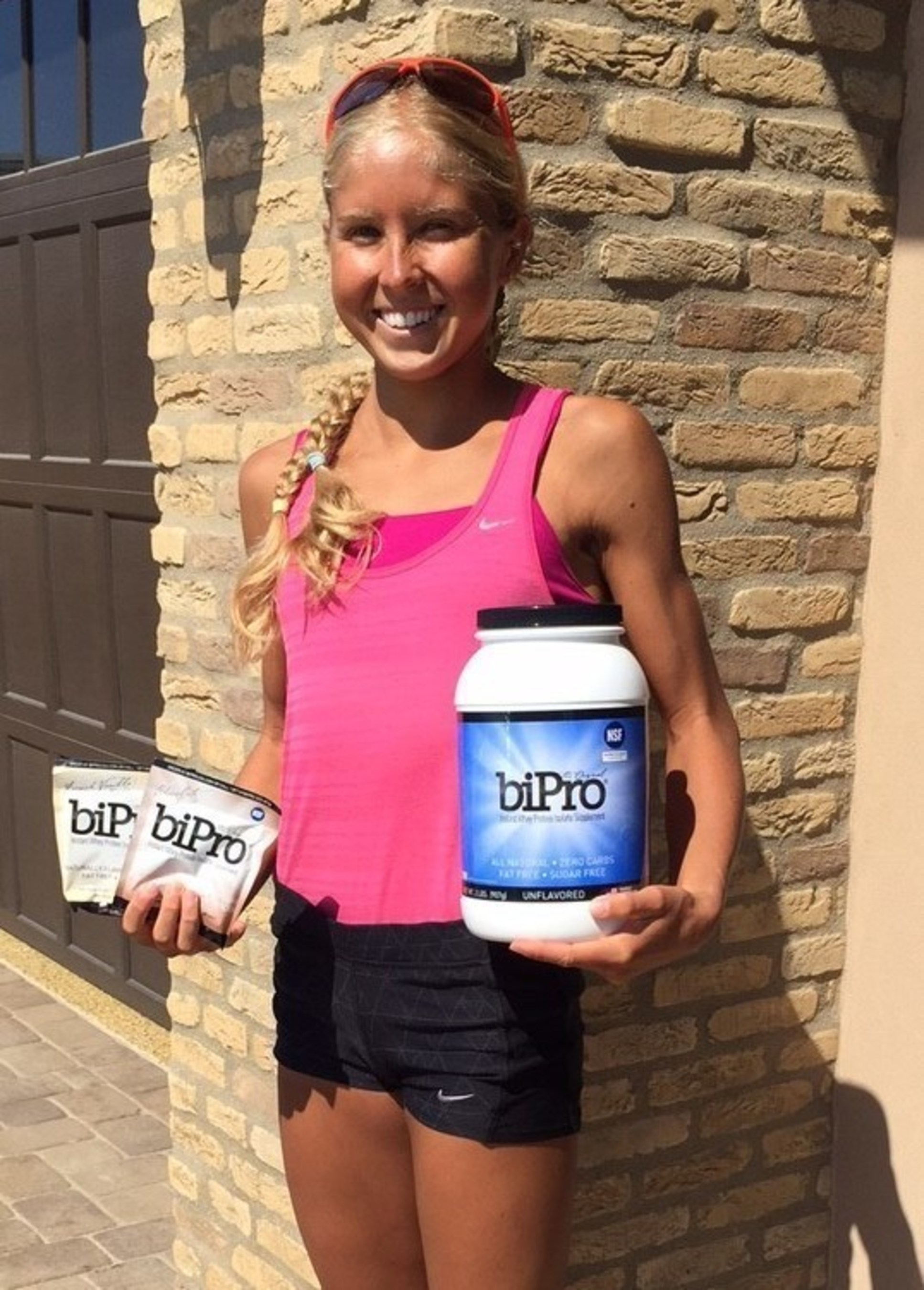 Professional runner Jordan Hasay with BiPro whey protein isolate.