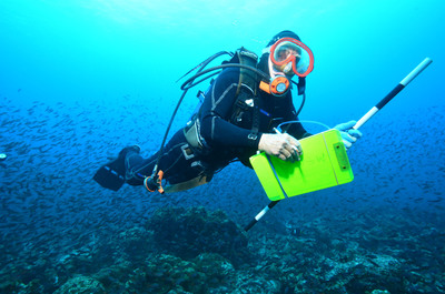 Living Oceans Foundation Scientist conducts research off the coast of the Galapagos Islands