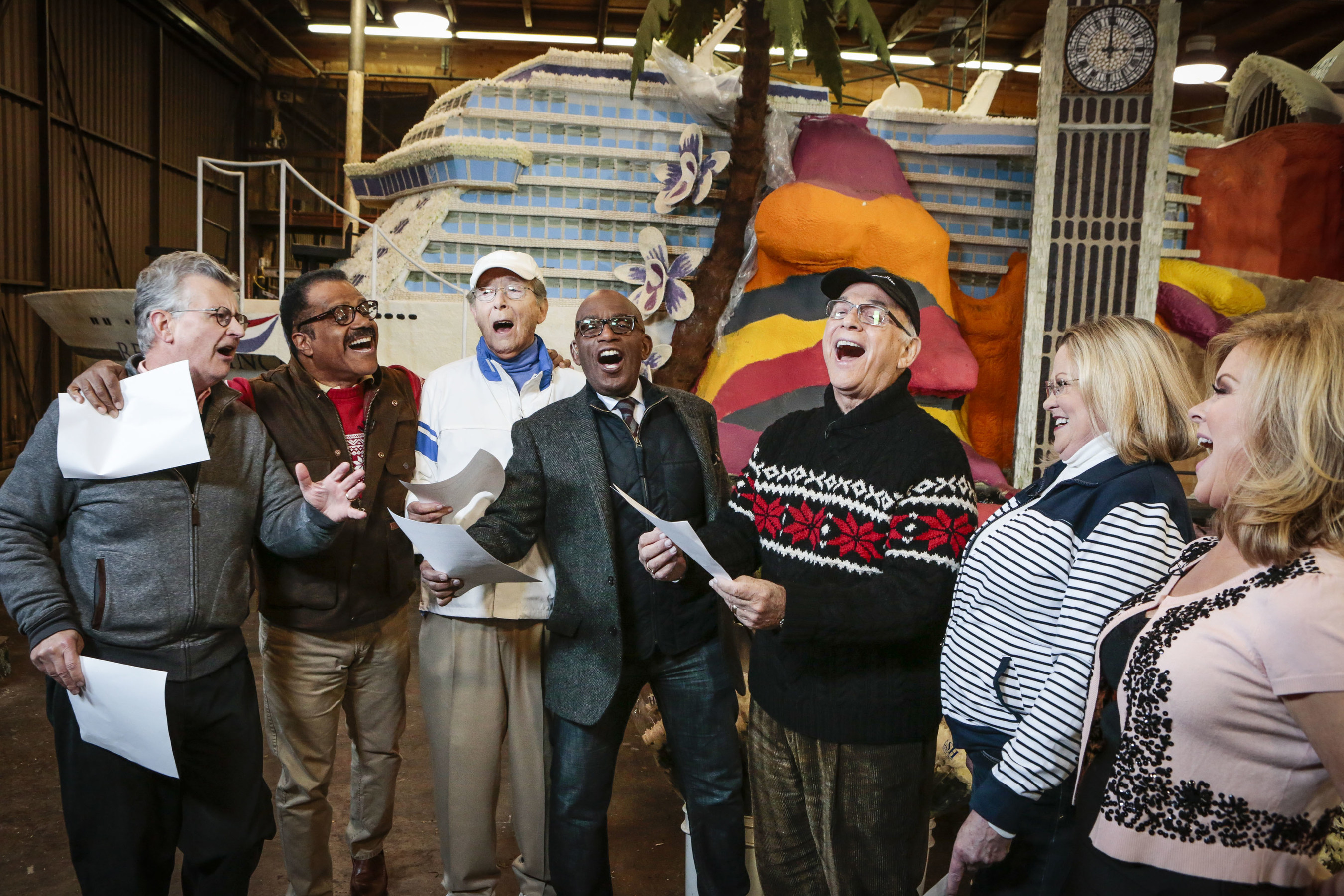 """Co-anchor of """"Today"""" Al Roker, along with the cast of """"The Love Boat,"""" sing the show's ..."""