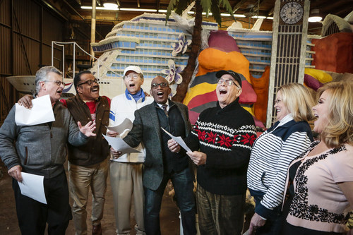 "Co-anchor of ""Today"" Al Roker, along with the cast of ""The Love Boat,"" sing the show's ..."