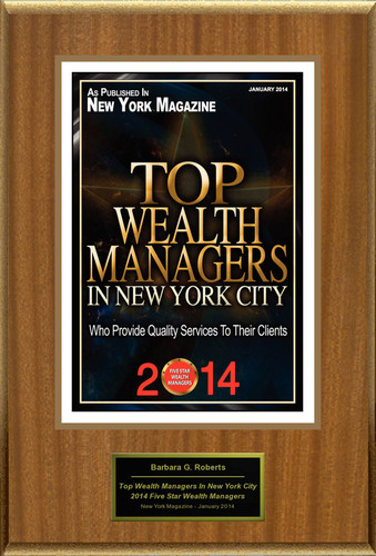 """Barbara G. Roberts Selected For """"2014 Top Wealth Managers In New York City"""". (PRNewsFoto/American Registry) (PRNewsFoto/AMERICAN REGISTRY)"""