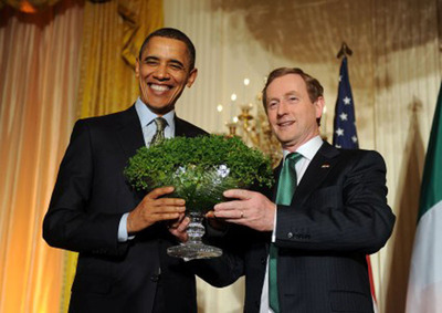 St. Patrick's Day is on Monday March 17th and nothing says Happy St. Patrick's Day like a bowl of Lucky Shamrocks.  Even President Obama appreciates the Shamrock Plant presented to him by Irish Prime Minister Enda Kenny.  A shamrock, recognized as a symbol of Ireland and the Irish people, and often linked to St. Patrick, is a three leaf clover that is believed to bring good luck.  Four leaf clovers are much rarer and are commonly mistaken to be a shamrock.  (PRNewsFoto/Wesley Berry)