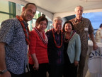 (Left to Right) Native American Contractors Association Executive Director Kevin J. Allis, U.S. Representative Colleen Hanabusa (D-HI), Retired U.S. Senator Daniel K. Akaka (D-HI), U.S. Senator Maize Hirono (D-HI), and Native Hawaiian Organization Association President Ron Jarrett pose for a celebratory photo following historic MOU signing.  (PRNewsFoto/Native American Contractors Association)