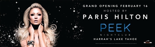 Mega-Celebrity Paris Hilton to Host PEEK Nightclub Debut at Harrah's Lake Tahoe on 2/16.  (PRNewsFoto/Harrah's Lake Tahoe)