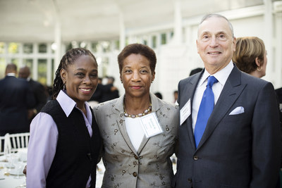 At the dedication of the Beatrice W. Welters Breast Health Outreach and Navigation Program, Ms. Welters (center) is joined by keynote speaker Chirlane McCray, First Lady of the City of New York, and Robert I. Grossman, MD, the Saul J. Farber Dean and CEO of NYU Langone Medical Center. Photo credit: Photo courtesy of Karsten Moran for NYU Langone Medical Center