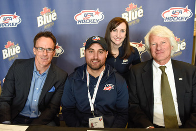 Labatt USA Announces Initiative to Create 10 New Sled Hockey Programs in the U.S. Pictured left to right: national sportscaster John Buccigross; Team USA Sled Hockey Captain Josh Sweeney, Labatt USA Brand Manager Lisa Texido and USA Hockey Senior Director of Corporate Marketing, Lee Meyer.