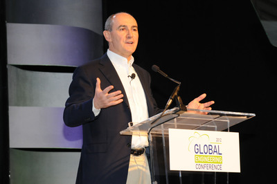 Geraud Darnis, president & CEO, UTC Climate, Controls & Security, and president of Carrier, addresses the approximately 900 attendees at Carrier's Global Engineering Conference in Las Vegas.  (PRNewsFoto/Carrier)