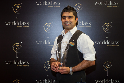 Shekhar Grover of Royal Caribbean International has been crowned Diageo Global Travel best cruise line bartender at a glamorous DIAGEO RESERVE WORLD CLASS final (PRNewsFoto/Diageo Global Travel)