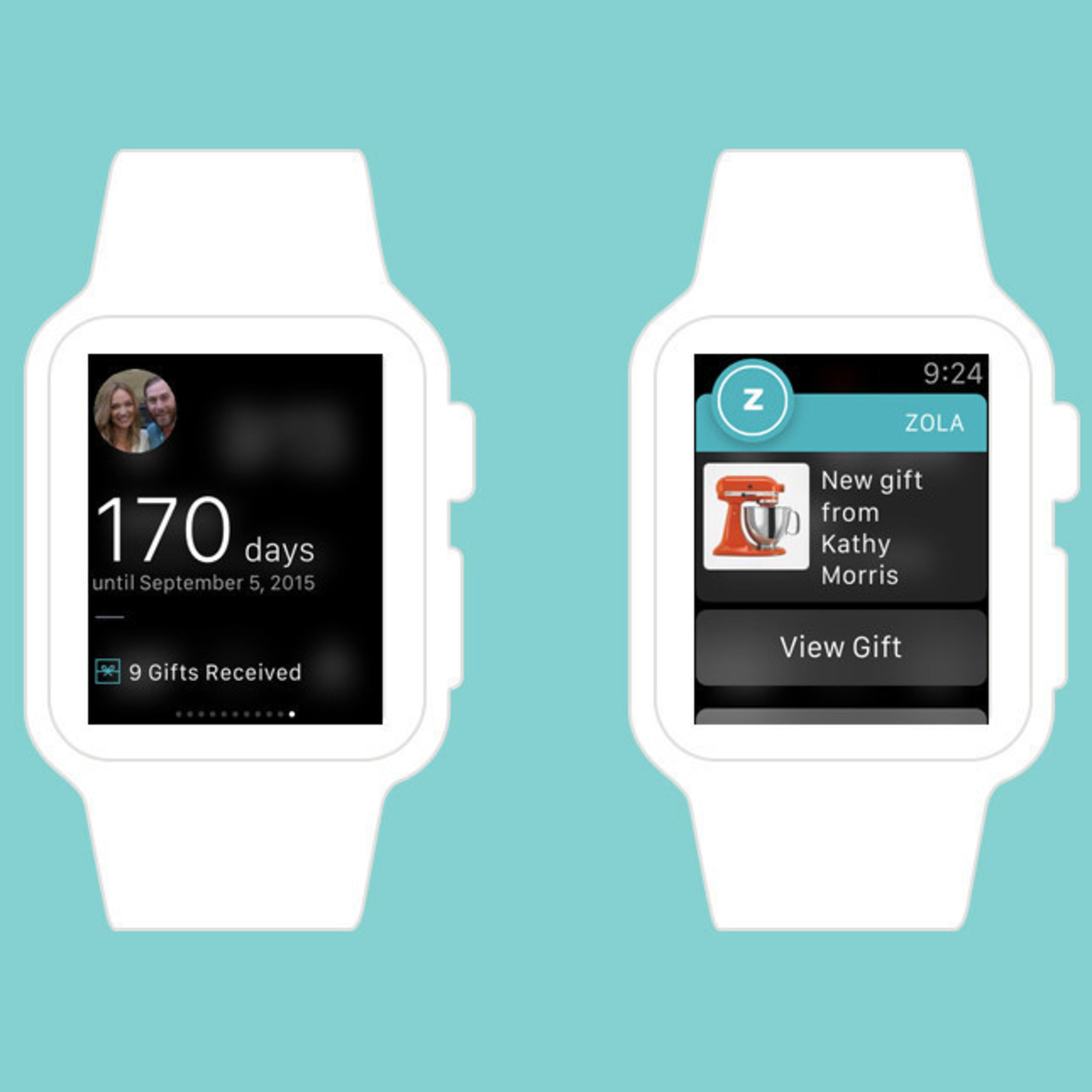 Zola's Launches First Wedding App for Apple Watch. Image Credit: Brit Co