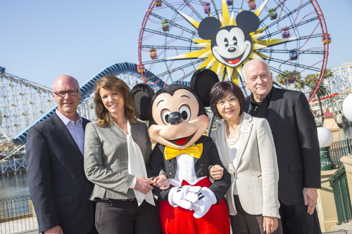 April 15 Press Conference at Disney's California Adventure to announce largest singular group of Chinese travelers ever to visit the U.S.  First stop is Orange County, CA.  Speakers: Caroline Betata, VisitCalifornia; Ed Fuller, Orange County Visitors Association; Jay Buress, Anaheim/OC CVB; Nicky Tang, Disney. (PRNewsFoto/Orange County Visitors Assoc.)