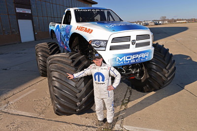 """New """"Mopar Muscle"""" Ram Monster Truck to compete at six Monster Jams in 2014. (PRNewsFoto/Chrysler Group LLC) (PRNewsFoto/CHRYSLER GROUP LLC)"""