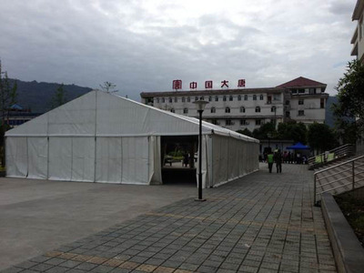 The first 180 square metres tent was built near the Temporary Emergency Center in Tian Quan County on 24 April for homeless people in the earthquake.  (PRNewsFoto/UBM Asia)