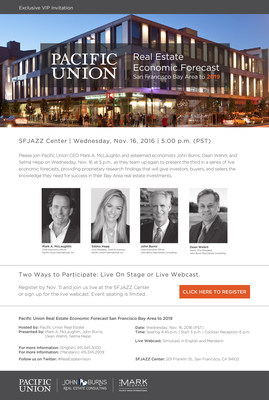 Pacific Union's third annual Bay Area Real Estate Forecast will inform investors, buyers and sellers of the market through 2019. November 16, 2016, 5 pm at the SFJazz Center in San Francisco, CA.