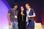 Lucas Farrell and Louisa Conrad of Big Picture Farms win Best New Product Award at Summer Fancy Food Show. Pictured with Chopped judge Chef Alex Guarnaschelli (center).