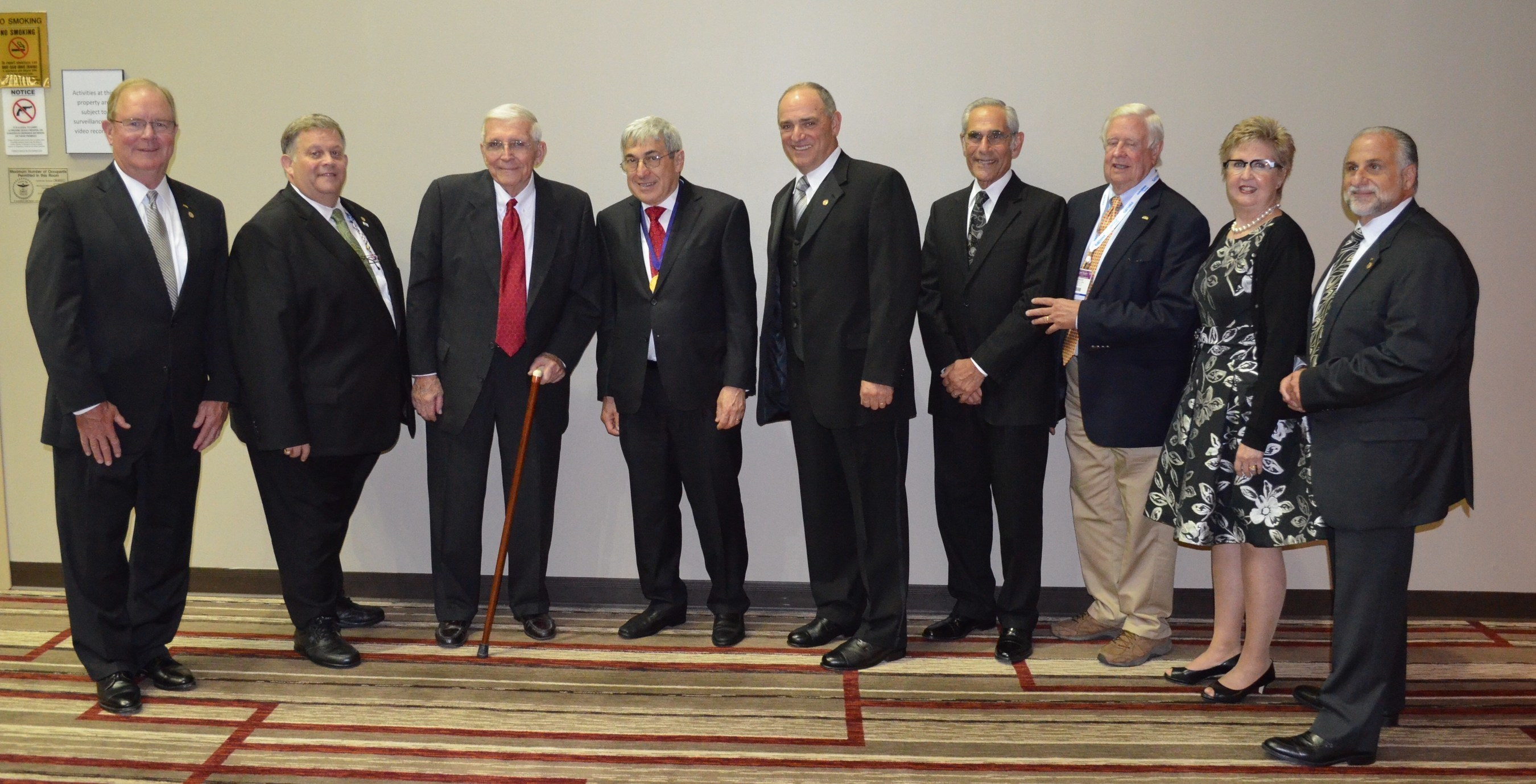 Members of the Callahan Memorial Award Commission congratulate Stanley Bergman, the 2015 Callahan Memorial Award honoree. Pictured from left: Dr. Joe Crowley, 2015 Commission Vice Chairman and American Dental Association (ADA) 7th District Trustee; Dr. Kevin Laing, Callahan Commissioner and President-Elect of the Ohio Dental Association; Dr. Jack Gottschalk, Commissioner Emeritus; Stanley Bergman; Dr. Joe Mellion, Commission Chairman; Dr. Lawrence Goldblatt, Commissioner; Dr. David Rummel, Commissioner...