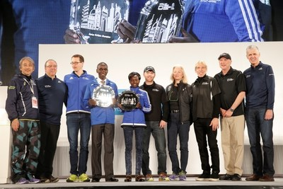 The Abbott World Marathon Majors (AbbottWMM) Series IX champions, Eliud Kipchoge of Kenya and Mary Keitany of Kenya, are pictured (left to right) with Tad Hayano, Race Director, Tokyo Marathon; Nick Bitel, Chief Executive, London Marathon; Mark Milde, Race Director, BMW Berlin Marathon; Tim Hadzima, General Manager, Abbott World Marathon Majors; Elaine Leavenworth, Senior Vice President, Chief Marketing and External Affairs Officer at Abbott; Peter Ciaccia, New York Road Runners President of Events and Race Director of the TCS New York City Marathon; Carey Pinkowski, Executive Race Director, Bank of America Chicago Marathon; and Tom Grilk, Executive Director, Boston Athletic Association, at the conclusion of the 2016 Tokyo Marathon (February 28, 2016).  Kipchoge and Keitany will split a $1 million prize purse, which was determined based on a points system from qualifying races during a one-year scoring period.