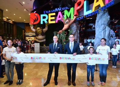 Melco Crown Entertainment Co-Chairman & CEO, Mr. Lawrence Ho and DreamWorks Animation Chief Executive Officer Mr. Jeffrey Katzenberg at the official opening of 'DreamPlay by DreamWorks', a 5,000 sq. meter play and creativity center at City of Dreams Manila.