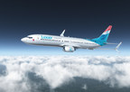 An artist's rendering of a Luxair 737-800 with Split Scimitar Winglets.