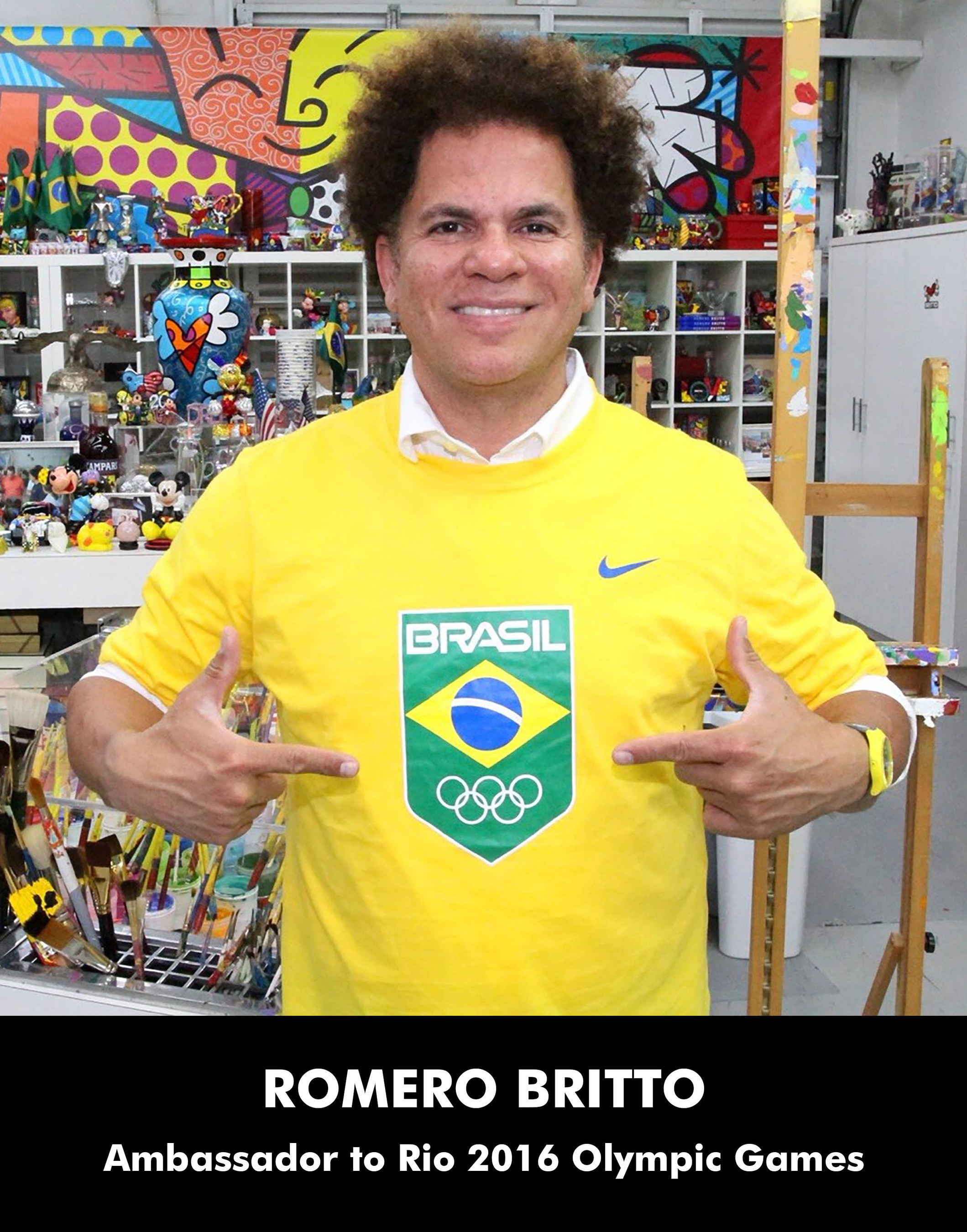 Iconic pop artist, Romero Britto, wears the seal of the Rio Olympics and flag of his native Brazil as Global Ambassador 2016 games.