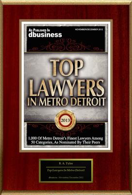 "B. A. Tyler Selected For ""Top Lawyers In Metro Detroit.""  (PRNewsFoto/American Registry)"