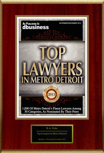 "B. A. Tyler Selected For ""Top Lawyers In Metro Detroit.""  (PRNewsFoto/American Registry)"