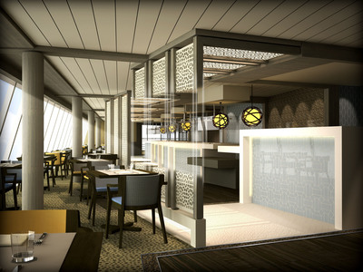 Rendering of the new Lido Cafe, to be implemented during Crystal Serenity's fall 2013 dry dock.  (PRNewsFoto/Crystal Cruises)