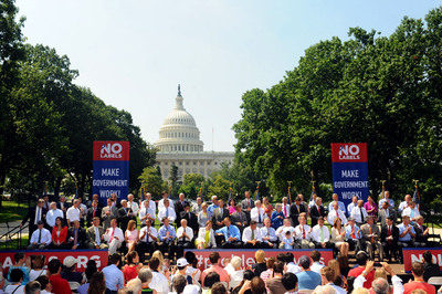 Nearly 70 Congressional Republicans and Democrats -- members of No Labels' Problem Solvers Coalition -- assemble on Capitol Hill on July 18 to announce their support for the Make Government Work! reform plan, which features nine common-sense ideas to make government more effective and efficient.