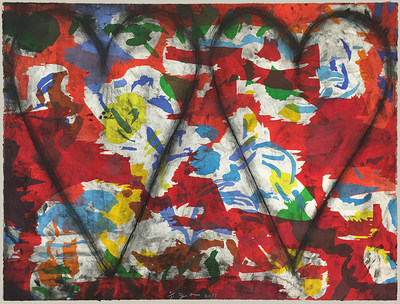 "Jim Dine hearts, ""Left-handed Woodcut"", a 2015 etching, 37"" x 53"", Edition of 11"